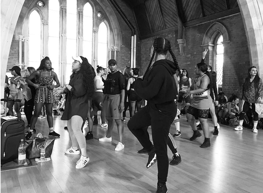 Group of dancers at a hip hop class