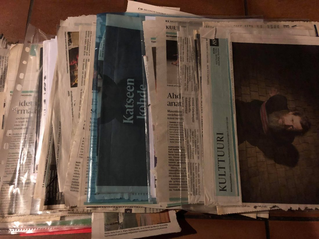 Batch of piled newspapers