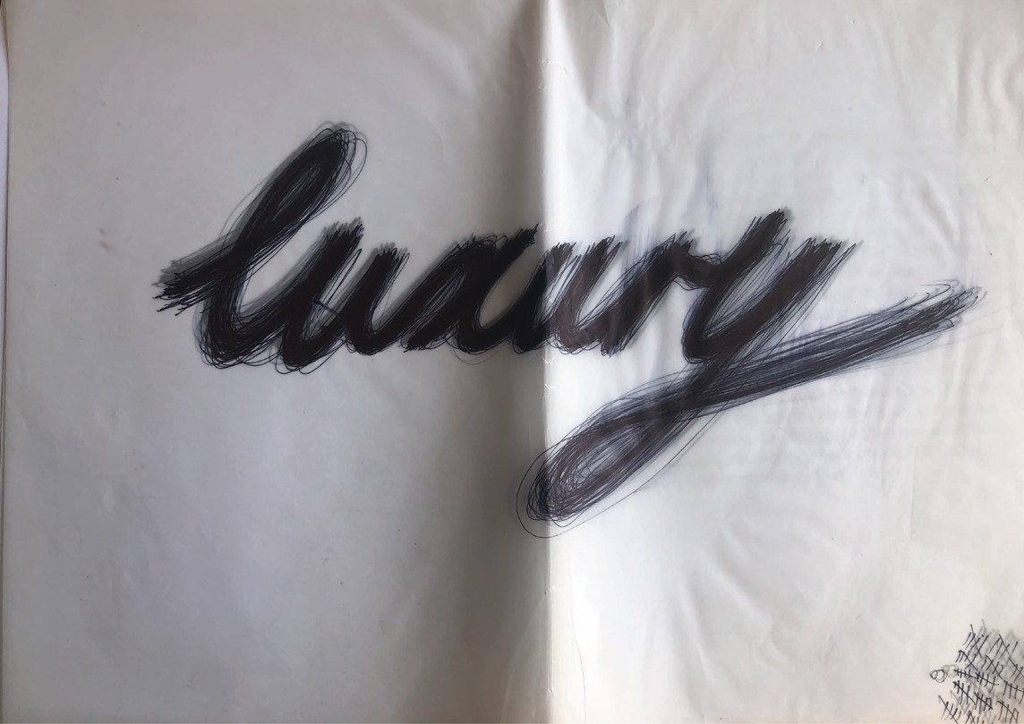 """Piece of cloth branded with the word """"luxury"""""""